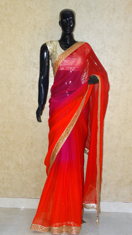 Red and Magenta - Fusion Hues Saree