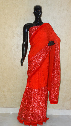 Pure Crepe Silk and Net - Red Half 'n' Half Saree