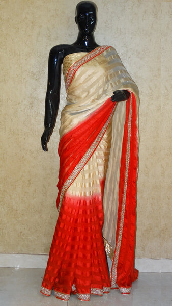 Pure Georgette Satin Stripe - Beige 'n' Red Saree