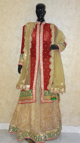 Maroon & Golden - Jacket Lehenga