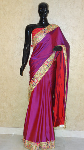 Cotton Satin - Red and Purple Cross Shade Saree