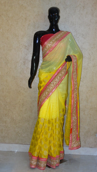 Banarasi Georgette - Lemon Yellow Ombre Saree