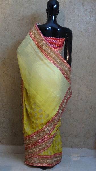 Pure Banarasi Georgette and Shimmer - Lemon Yellow Ombre Saree