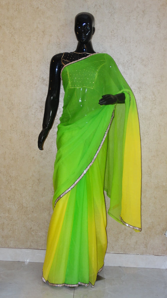 Parrot Green and Lemon Yellow - Fusion Hues Saree
