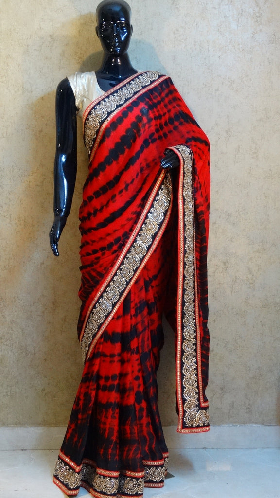 Crepe Satin - Red and Black Shibori Saree
