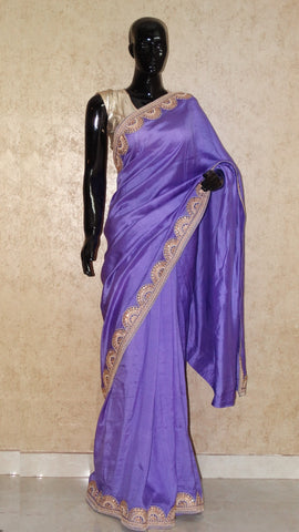 Raw Silk - Kundan Cutwork border Mauve Saree