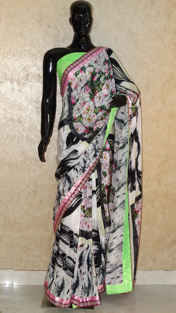 Italian Crepe - Floral bunch with Abstract Print white Saree