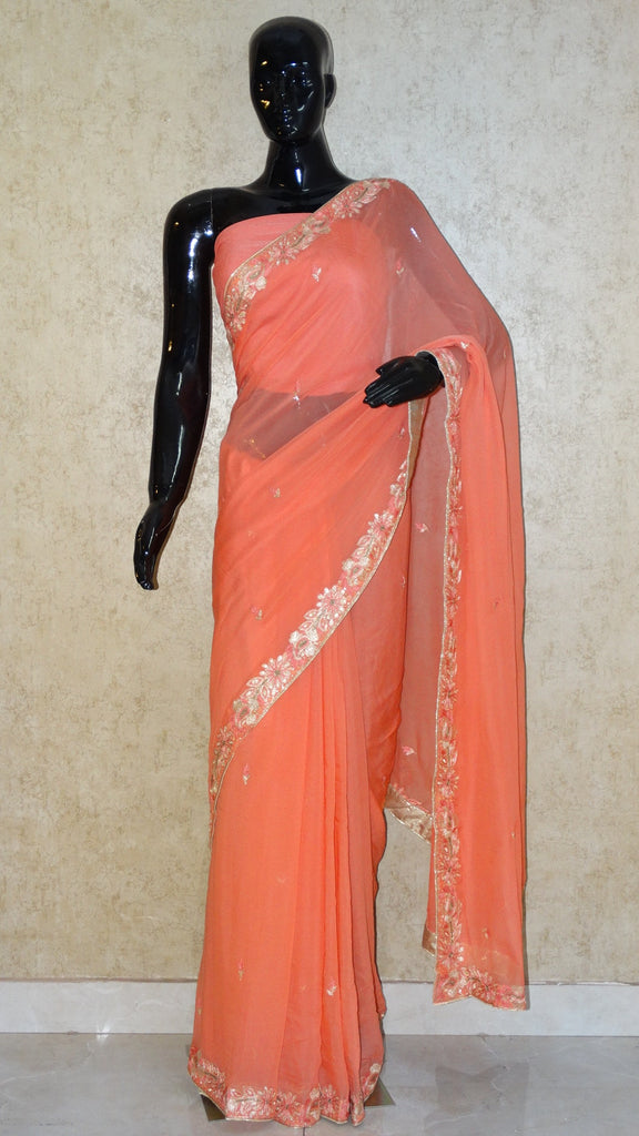 Pure Chiffon Saree - Hand Embroidery Pitta work Peach Saree