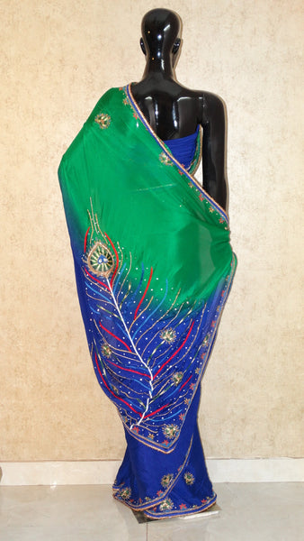 Pure Chignon Saree - Hand Embroidery Peacock Saree