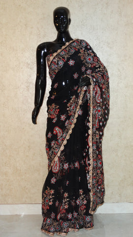 Chikankari Black Georgette Saree with Stone work
