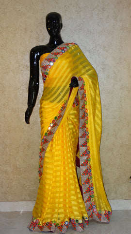 Georgette Satin Stripes Saree - Yellow Saree with Surat Embroidery & Mirror Work Border