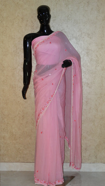 Pure Chiffon Saree - Hand Embroidery Pink Saree