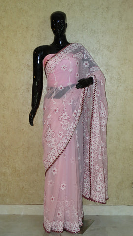 Chikankari Mauve Georgette Saree with Stone Work