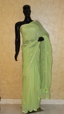 Pure Chiffon Saree - Hand Embroidery Grapes Green Saree
