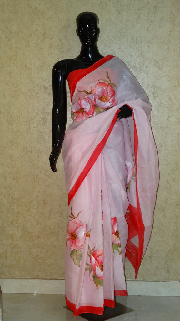 Pure Organdy Hand Painted Saree - Floral Pattern all Over