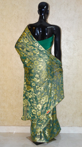 Pure Georgette Brasso Saree - Golden Floral Brasso Bottle Green Saree