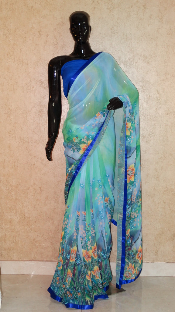 Blue Georgette Saree - Floral Print with Swarowski embellishment Saree