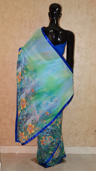 Aqua Blue Georgette Saree - Floral Print with Swarowski embellishment Saree