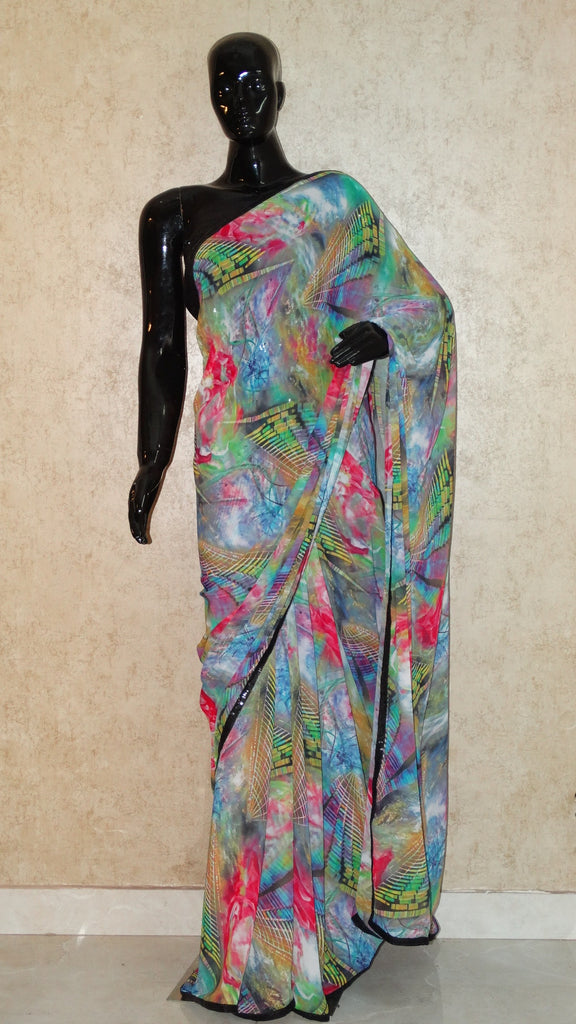 Blue Georgette Saree - Abstract Graphical Print Saree