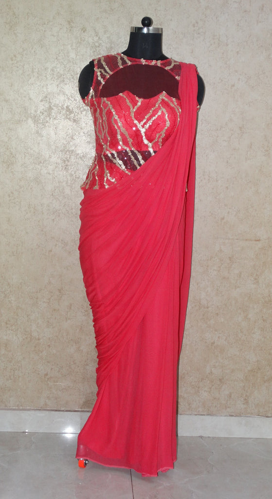 Peach Saree Gown - Sequins Top and Georgette Saree