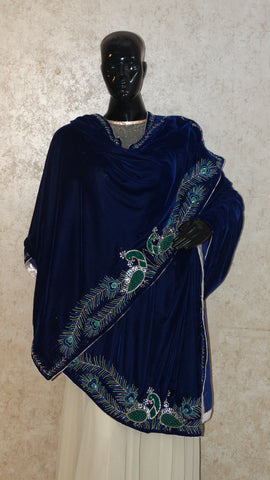 Royal Blue Velvet Shawl - Peacock Pair Hand Embroidered
