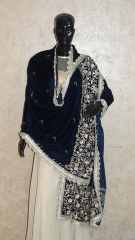 Navy Blue Velvet Shawl - Zardosi  and Mirror Embroidery