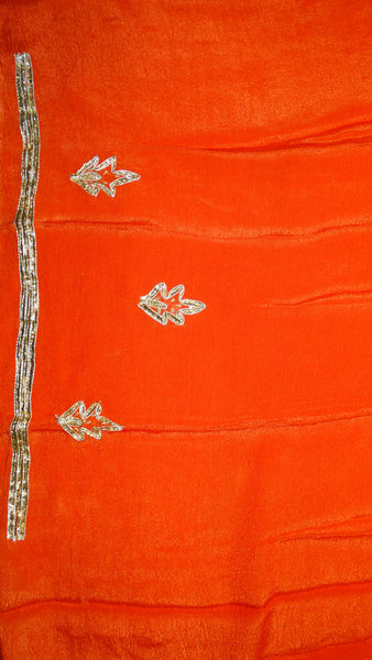 Kaccha Gota Saree - Pure Chiffon Orange n Yellow Fusion Hues