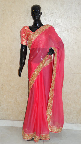 Pure Chiffon Pastel Pink Saree with Floral Border