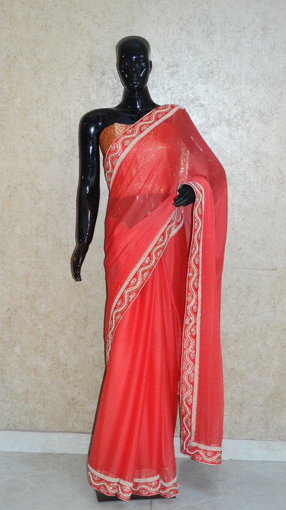 Pure Chiffon Pastel Red Saree with Pearl and Kundan Border
