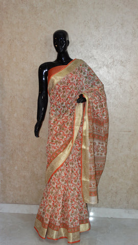 Block Print with Gota Patti - Rust Orange Chanderi Saree
