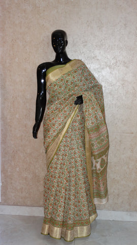 Block Print with Gota Patti - Olive Green Chanderi Saree
