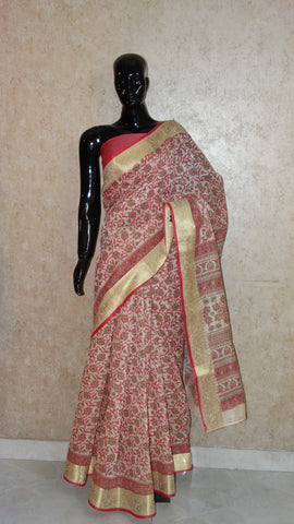 Block Print with Gota Patti - Fuchsia Pink Chanderi Saree