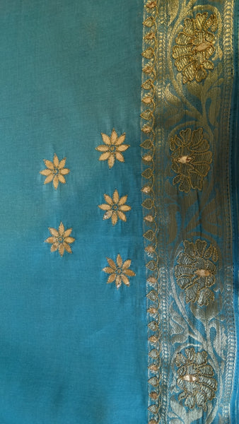 Block Print with Gota Patti - Teal Blue Chanderi Saree