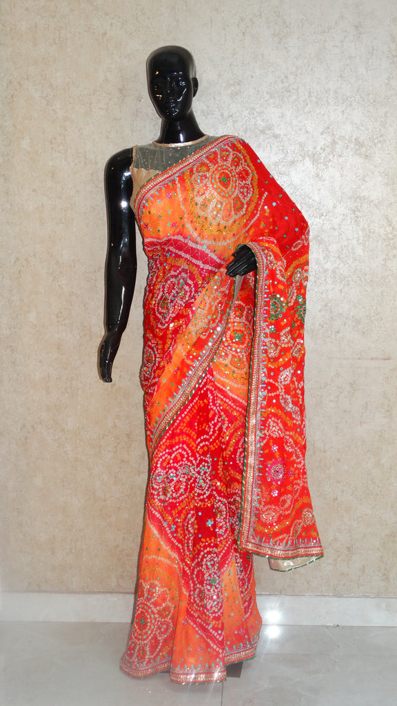 Pure Crepe Orange Bandhej Saree with Mirror and Sequins Embroidery