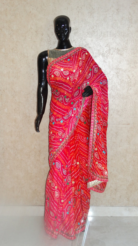 Pure Crepe Pink Bandhej Saree with Mirror and Sequins Embroidery