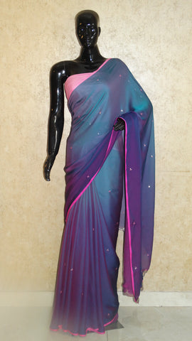 Georgette Stain Purple Fusion Hues Saree with Cut-work