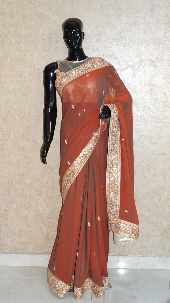 Pure Georgettte Rust Green Saree - With Zari n Silk Parsi Gara