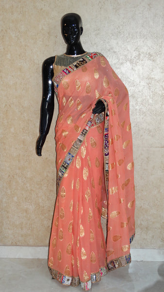 Pure Banarasi Georgette Peach Saree
