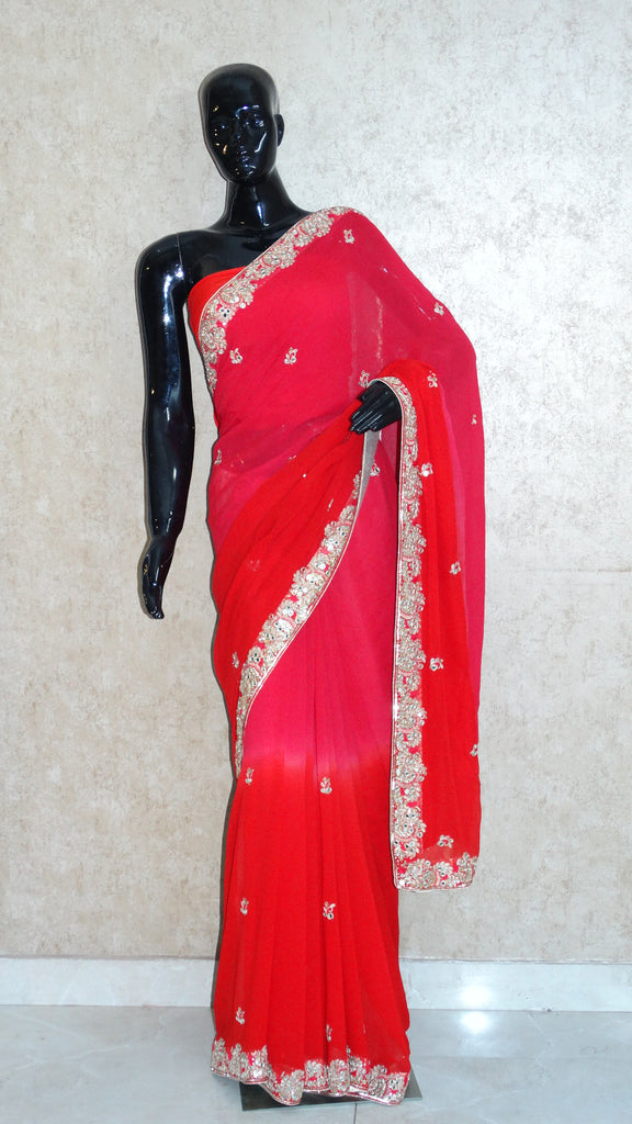 Pure Georgette Red Shaded Saree with Gota patti n Mirror Embroidery