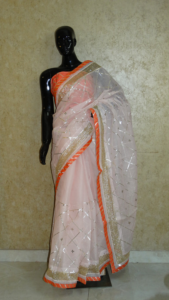 Pale Pink Organdy Peach Saree with Contemporary Gota work