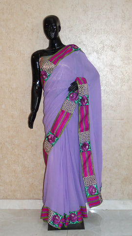 Pure Georgette Lavender Saree with Cut-work Border