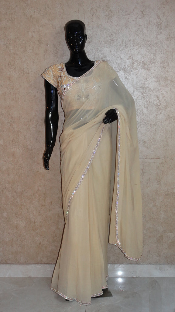 Pure Georgette - Buttercup Yellow Saree with Zircon n Pearl border
