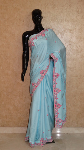 Pure Crepe Silk Sky Blue Saree with Silk Embroidery