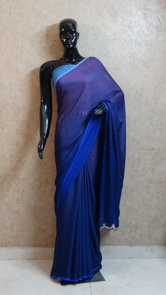 Georgette Stain Blue Fusion Hues Saree with Cut-work