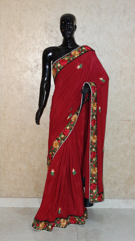Pure Crepe Maroon Saree with Parsi Embroidery