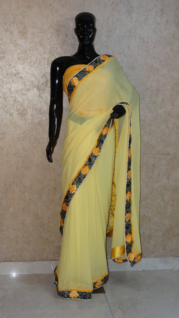 Pure Georgettte Lemon Saree with Floral Parsi Gara