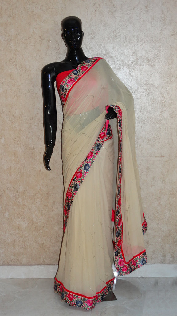 Pure Georgettte Khaki Saree with Floral Parsi Border