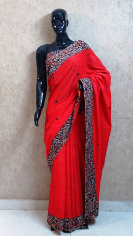 Red Chanderi Saree with Hand Block Print Border