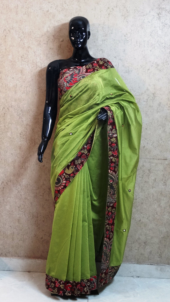 Olive Green Chanderi Silk Saree with Hand Kalamkari Border and Mirror Work