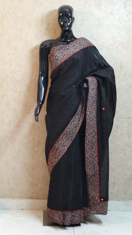 Black Organdy Saree with Hand Ajrakh Border and Mirror Work